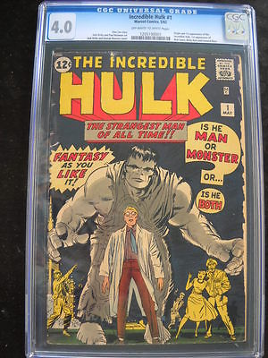 The Incredible Hulk 1 May 1962 Marvel CGC 40 universal blue label white ow