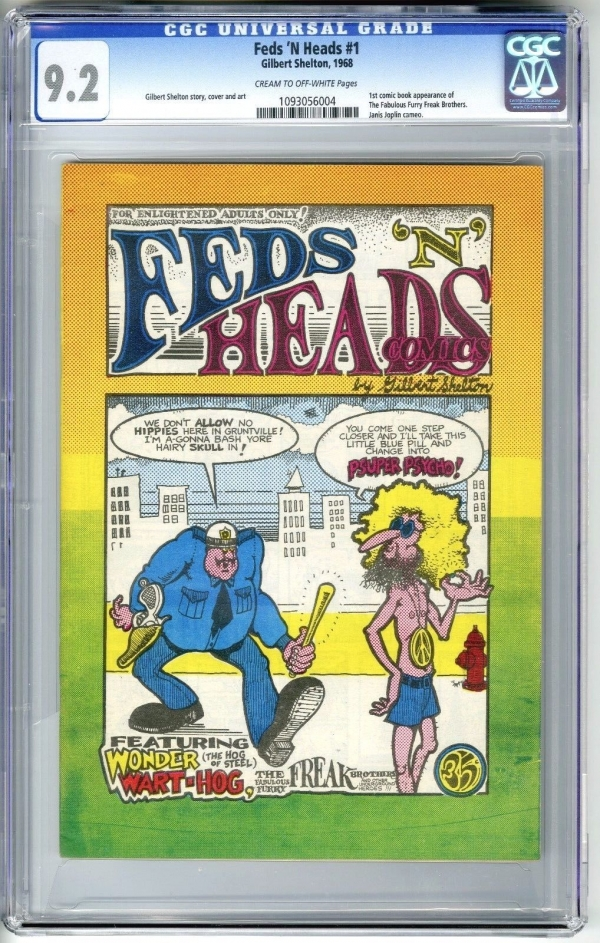 FEDS N HEADS 1 1968 1ST PRINT CGC 92 NM 1ST FREAK BROTHERS UNDERGROUND COMIX