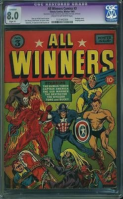 ALL WINNERS COMICS 3 cgc 80 HUMAN TORCH CAPTAIN AMERICA SUB MARINER