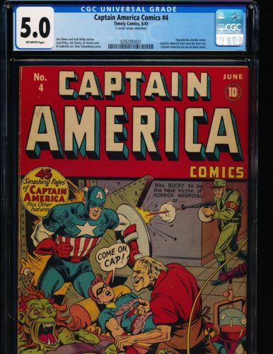 Captain America Comics  4  Hypodermic needle cover CGC 50 OFFWHITE Pgs