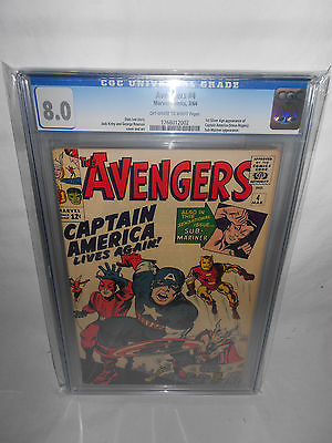 MARVEL AVENGERS 4 CGC 80 OFFWHITE PAGES 1963 1ST SILVER AGE CAPTAIN AMERICA