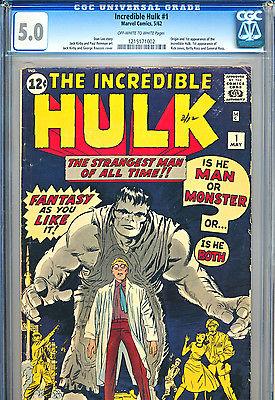 INCREDIBLE HULK 1 CGC 50 Universal 1st APP OWWHITE Marvel Comics 1962