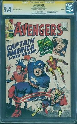 Avengers 4 CGC SS 94 Stan Lee Signed Jack Kirby 1st Silver Age Captain America