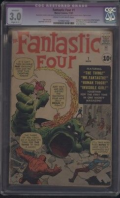 Marvel Comics THE FANTASTIC FOUR 1 111961 1st APP Fantastic 4 Mole Man CGC 30