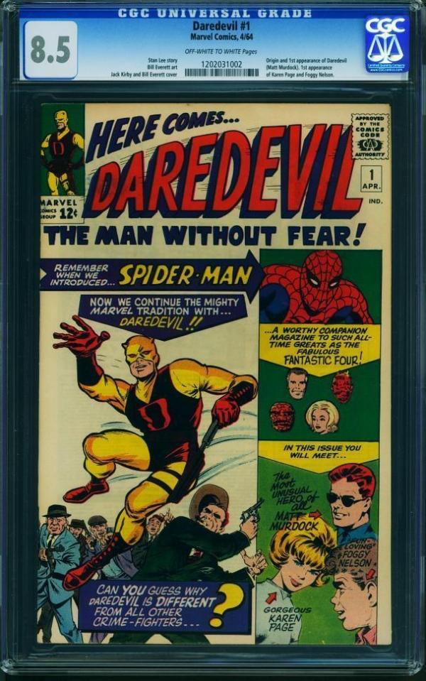 Rare Collectors Comics Daredevil 1 Cgc 85 Oww Pgs Very