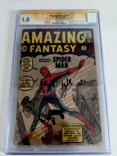 Amazing Fantasy 15  1st Appearance of Spiderman CGC 10 OW Pages SGN Stan Lee