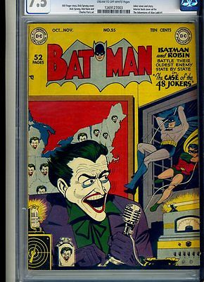 BATMAN  55 CGC 75 CTOWP  GREAT JOKER COVER  1949