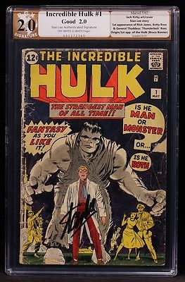 1962 MARVEL COMICS INCREDIBLE HULK 1 PGX 20 LIKE CGC SIGNED STAN LEE NICE