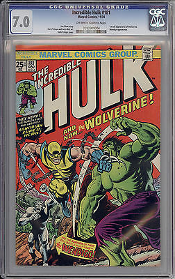 Incredible Hulk 181 CGC 70 OWW Pages first full Wolverine app  Old label