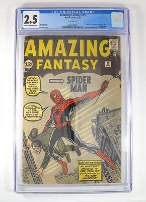 Rare 1962 Amazing Fantasy 15 Marvel SpiderMan Comic Stan Lee CGC Graded 25