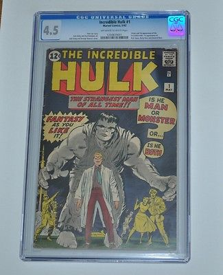 The Incredible Hulk 1   CGC 45 offWhite to White pages    1962 Silver age Key