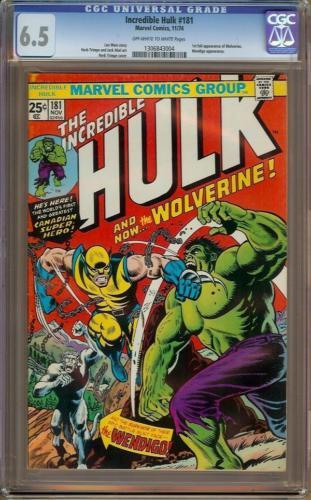 Incredible Hulk 181 CGC 65 OWW  1st Wolverine  Looks 80 Best Looking 65