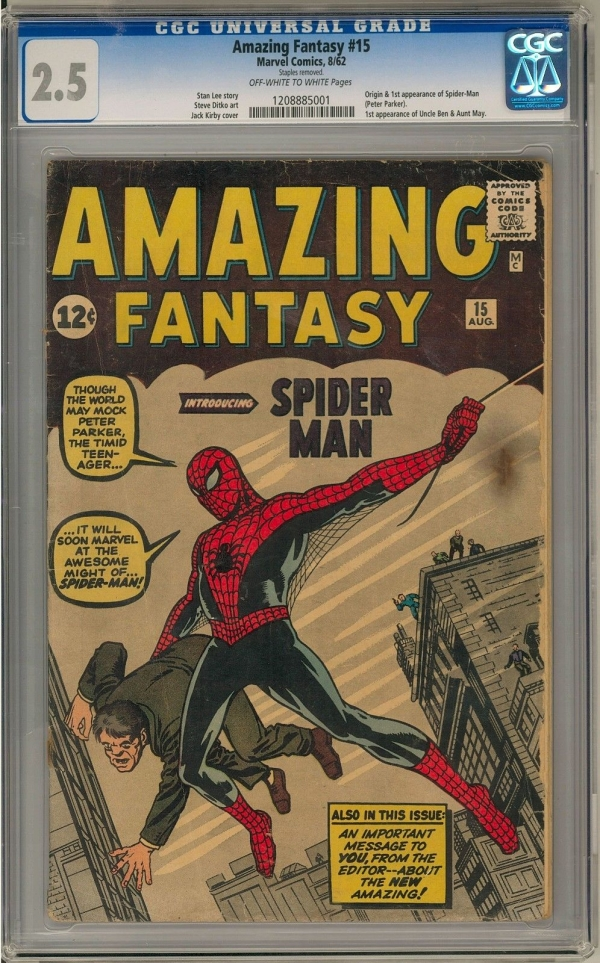 Amazing Fantasy 15 CGC 25 OWW Origin and 1st Appearance of SpiderMan