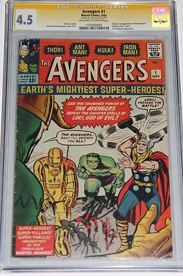 The Avengers 1 CGC 45 SS Signed by STAN LEE OWW Pages THOR HULK  No Reserve