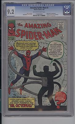 AMAZING SPIDERMAN  3  CGC  92  NM  1ST DOC OCK  OWWHITE PAGES