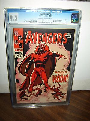 Avengers 57 CGC 92 COW p 1st SA VISION Ultron 1968 Marvel id 15345