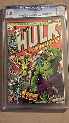 INCREDIBLE HULK 181 CGC 80  WHITE PAGES  1ST FULL APPEARANCE OF WOLVERINE  18