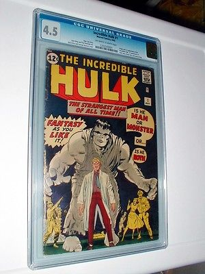 Incredible Hulk 1 cgc 45 owwhite pages Perfect centering no marks A Gem