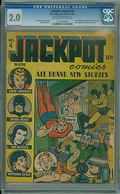 Jackpot Comics 4 CGC 20 1941 RARE 2nd Appearance and 1st Cover of ARCHIE MLJ