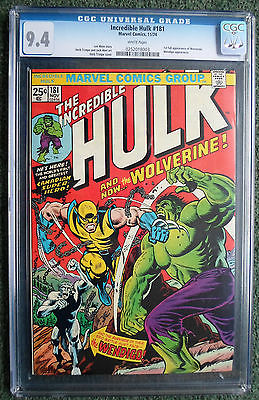 The Incredible Hulk 181  CGC 94  WHITE PAGES 1st Full App of Wolverine