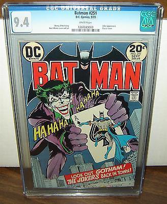 Batman 251 CGC 94 White pages classic Neal Adams Joker cover 1973 c04256