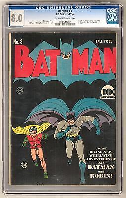 Batman 3 CGC 80 OWW 1st Puppetmaster 1st Catwoman Costume