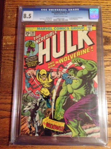 Hulk 181 CGC 85 OffWhite To White Pages  First Wolverine