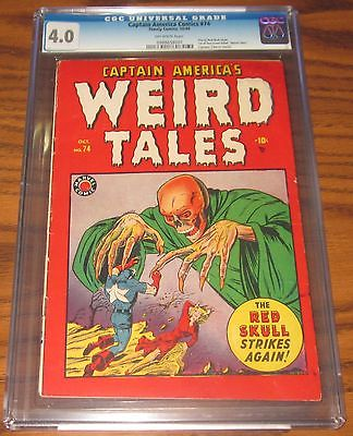 Captain Americas Weird Tales 74 The Red Skull Strikes Again 1949 CGC 40