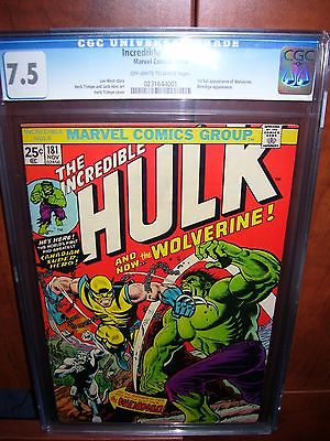 The Incredible Hulk 181 CGC 75 Nov 1974 Marvel 1rst appearance of Wolverine