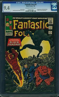 Fantastic Four 52 CGC 94 NM Marvel 1st Black Panther  KEY CGC 94