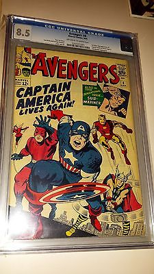 Avengers 4  CGC 85 VF  OWW pages  1st Silver Age app Captain America