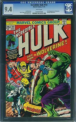 Hulk 181 CGC 94 1974 1st Wolverine XMen WHITE pages C4 1 109 cm