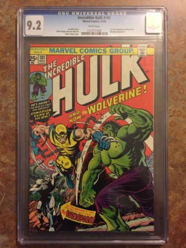 The Incredible Hulk 181 CGC 92 WHITE Pages Wolverine Older Better Case