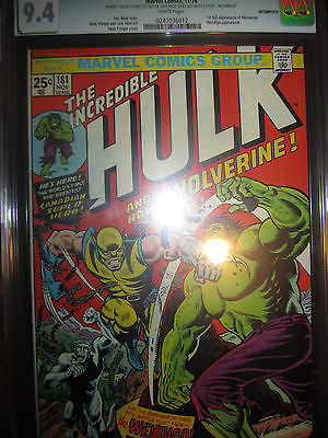 Incredible Hulk 181 CGC 94 1st Wolverine Comic WHITE pages Stan Lee Marvel 1