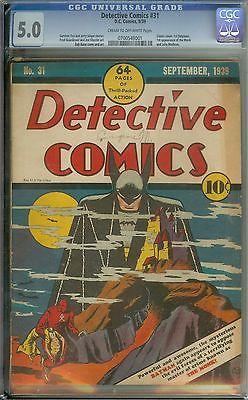 DETECTIVE COMICS 31 CGC 50 CROW PAGES  CLASSIC COVER1ST BATPLANE