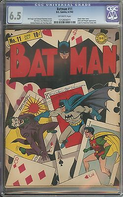 BATMAN 11 CGC 65 OW PAGES  CLASSIC JOKER COVER