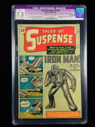 Tales Of Suspense 39 CGC 75 Restored TOS Origin 1st Iron Man Big Key