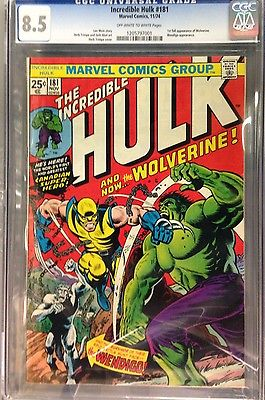 THE INCREDIBLE HULK 1974 181 CGC 85 VF 1ST FULL APPEARANCE OF WOLVERINE