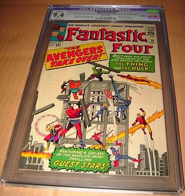 FANTASTIC FOUR 26 CGC 94 THING VS HULK BATTLE RESTORED 1964 WHITE PAGES NMINT