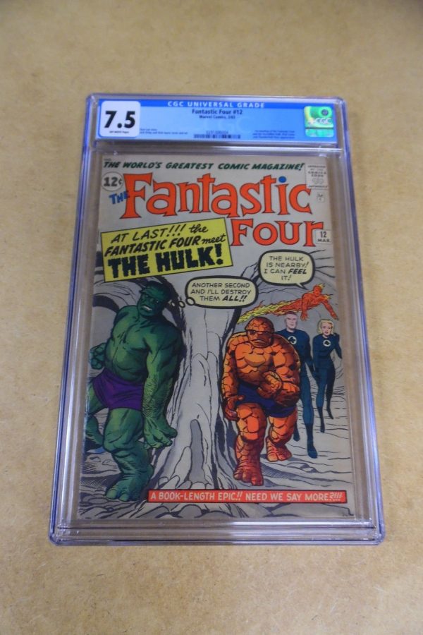 FANTASTIC FOUR 12 1st MEETING HULK  FF4 CGC 75 OFFWHITE Pages Universal