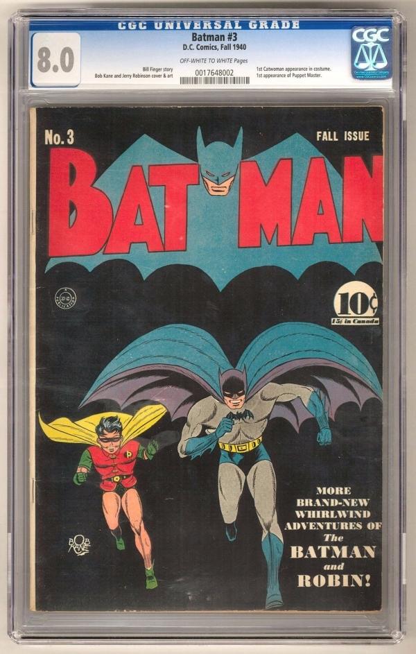 Batman 3 CGC 80 OWW 1st Puppet Master 1st Catwoman Costume