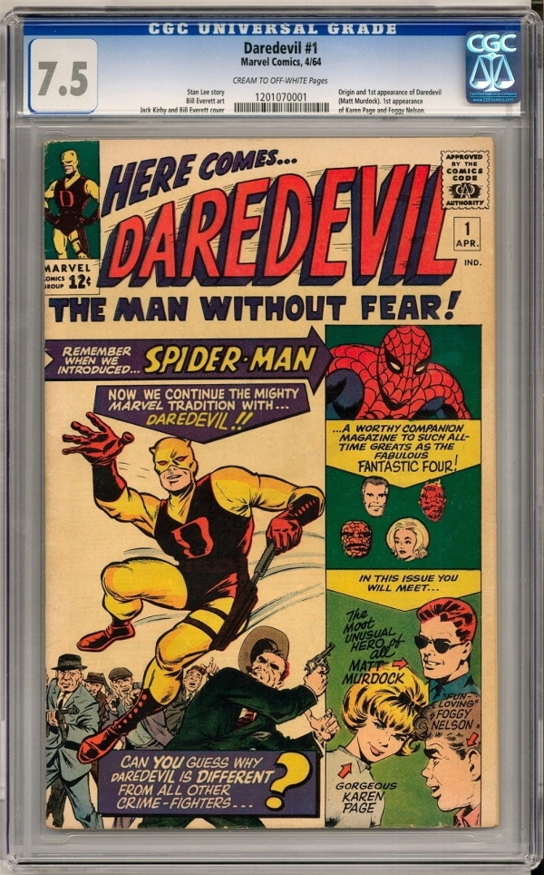 Daredevil 1 CGC 75 COW Origin  1st Appearance of Daredevil Matt Murdock