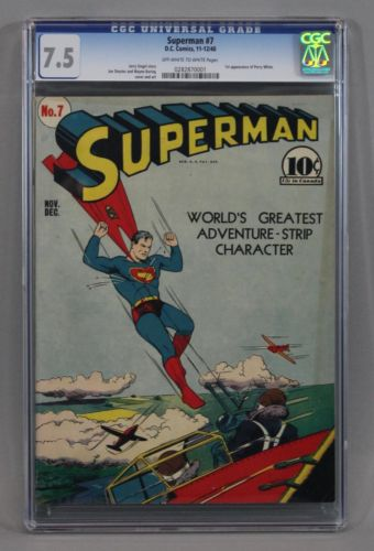 CGC Graded 75  1940 SUPERMAN No 7 Golden Age DC Comic Book1st Perry White