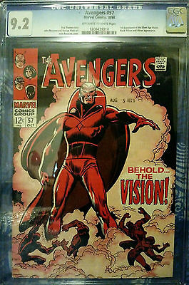 AVENGERS 57 1968  CGC 92 OWW BEHOLD THE VISION KEY BOOK BEAUTIFUL COPY