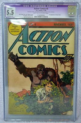 ACTION COMICS 6 CGC 55 6th App SUPERMAN 1938  Lt TanOW Pgs 1st Jimmy Olsen