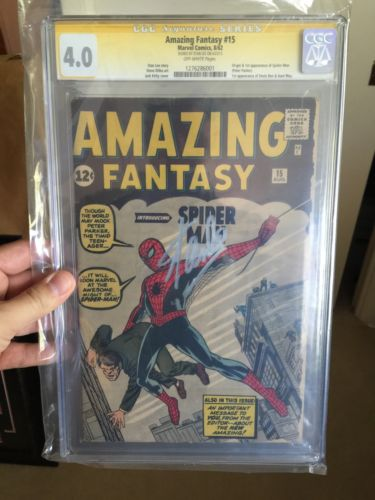 Amazing Fantasy 15 CGC 40 SS Stan Lee Signed 1st Appearance Of SpiderMan
