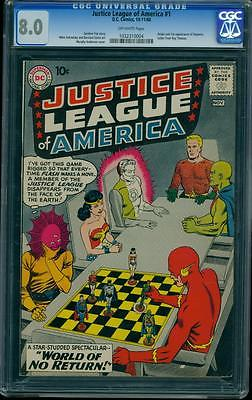 Justice League of America 1 CGC 80 Silver Age Key DC Comic LK