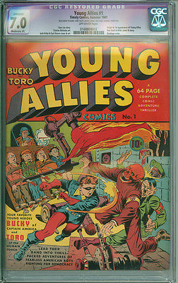 Young Allies 1 CGC 70 FVF MP OW pgs Timely 1941 Jack Kirby Red Skull Cover
