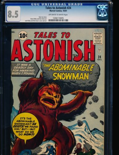 Tales To Astonish  24  Jack Kirby coverart  Ditko art CGC 85 OWWHITE Pgs