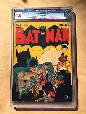 BATMAN 5 DC Comic 1941 CGC 40 OFF WHITE Kane Cover Joker App No Bat Emblem